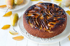 Chocolate cake with pears Stock Image