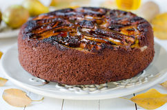 Chocolate cake with pears Royalty Free Stock Photo