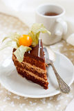 Chocolate cake with physalis. And a cup of tea Stock Photo