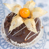 Chocolate cake with the physalis Royalty Free Stock Image