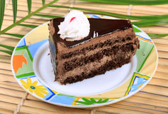 Chocolate cake piece Stock Photo