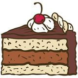 Chocolate cake. A piece of chocolate cake with cherry. Vector illustration Stock Image