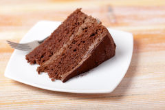 Chocolate Cake on a Plate Stock Photo