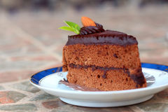 A chocolate cake on a plate. A chocolate cake on a plate Royalty Free Stock Images