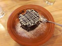 Chocolate cake. A chocolate cake on a plate Royalty Free Stock Photo