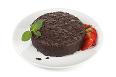 Chocolate cake on plate isolated Royalty Free Stock Images