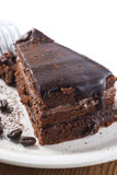 Chocolate Cake. On a plate. New version royalty free stock photos