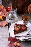 Chocolate cake with plums, selective focus Stock Images
