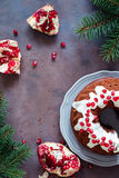 Chocolate cake and pomegranate Royalty Free Stock Image