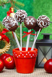 Chocolate cake pops in christmas setting