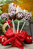 Chocolate cake pops in christmas setting Stock Photography