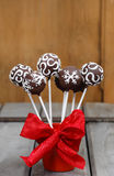 Chocolate cake pops in christmas setting Royalty Free Stock Images