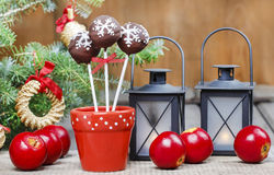 Chocolate cake pops in christmas setting Royalty Free Stock Image