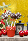 Chocolate cake pops in christmas setting Stock Images