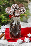 Chocolate cake pops in christmas setting Royalty Free Stock Photos