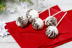 Chocolate cake pops in christmas setting Stock Photo