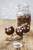 Chocolate cake pops decorated with stars Royalty Free Stock Images
