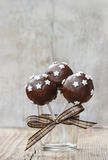 Chocolate cake pops decorated with stars Stock Images