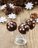 Chocolate cake pops decorated with stars Royalty Free Stock Photography