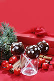 Chocolate cake pops decorated with stars Stock Image