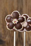 Chocolate cake pops in flower shape Stock Photos