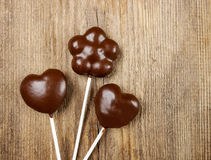 Chocolate cake pops in heart and flower shapes Stock Images