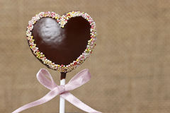 Chocolate cake pops in heart shape Stock Photo