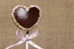 Chocolate cake pops in heart shape Stock Photo