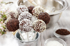 Chocolate cake pops on kitchen table Stock Images