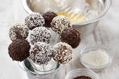 Chocolate cake pops on kitchen table Stock Image