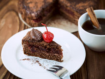 Chocolate cake portion Royalty Free Stock Image