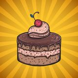 Chocolate cake poster. Design, menu cover vector illustration Royalty Free Stock Photo
