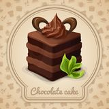 Chocolate cake poster. Chocolate layered cake with cream dessert poster in frame and cooking icons on background vector illustration Royalty Free Stock Image