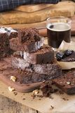Chocolate cake with prune and walnuts stock photography