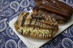 Chocolate cake with pudding Stock Photos