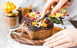 Chocolate cake with pumpkin, nuts and frosting, to cut Stock Image