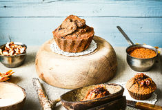 Chocolate cake with pumpkin and walnuts, autumn baking, rustic Stock Images