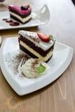 Chocolate cake and rasberry cake Stock Photo