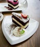 Chocolate cake and rasberry cake Stock Images