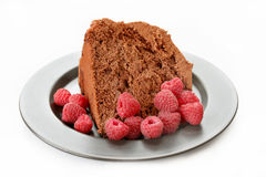 Chocolate Cake and Raspberries Stock Image