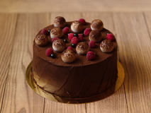 A chocolate cake with raspberries, black currants, sprinkled with cocoa on a brown blurred background. Stock Photo