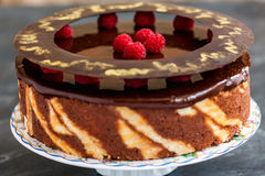 Chocolate cake with raspberries. Royalty Free Stock Photography
