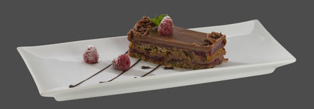Chocolate cake with raspberries on a plate isolated on a gray ba Stock Photo