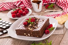 Chocolate cake. Chocolate cake with raspberries on white dish royalty free stock image