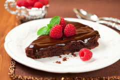 Chocolate cake with raspberry Stock Images