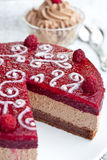 Chocolate cake with raspberry jelly Royalty Free Stock Photo