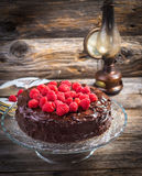 Chocolate cake with Raspberry Stock Photography