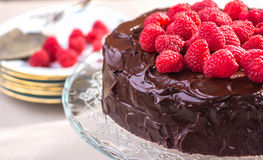 Chocolate cake with Raspberry Stock Image