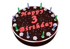 Chocolate cake for 3rd birthday Stock Photos