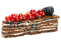 Chocolate Cake with a red currant and a blackberry Stock Photos